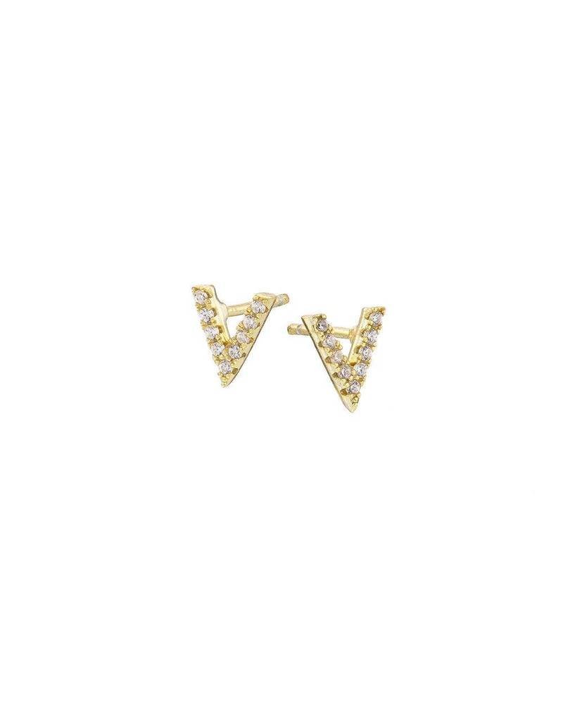 Gold Pave V Stud Mary K Earrings