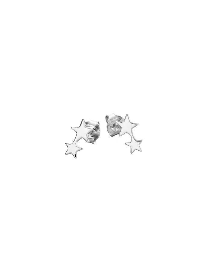 Silver 2 Star Stud Earrings