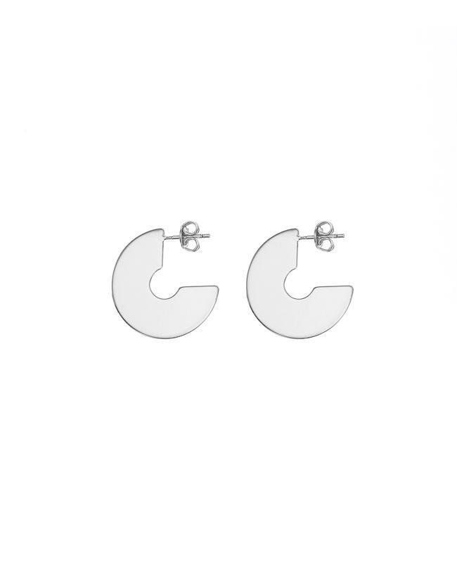 Silver Flat Hoop Earrings - Mary-K