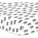 The Peanut Shell Crib Sheet - Gray Bear