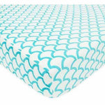 Brixy Chenille Crib Sheet - Aqua Sea Waves