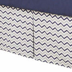 "14"" Bed Skirt - Navy Zigzag"