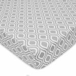 Brixy Percale Crib Sheet - Grey Ogee