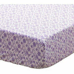 The Peanut Shell Fitted Crib Sheet - Zoe, Purple Floral Print