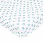 Brixy Percale Crib Sheet - White with Blue Dots