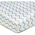 Brixy Percale Crib Sheet - Zigzag Gray & Blue