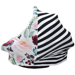 Multi Use Cover - Flowers/Black Stripe