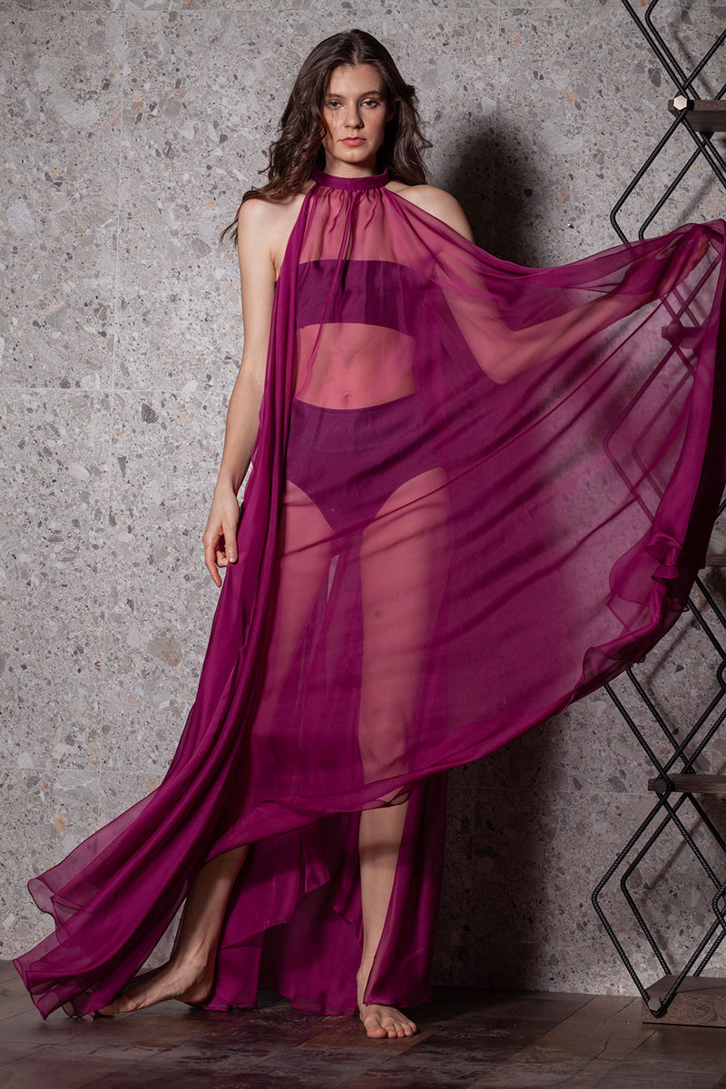 Rochie-capa din voal burgundy