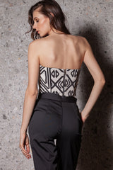 Corset cu push-up, imprimeu geometric