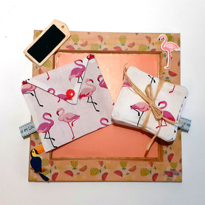 Pochette à lingettes - Flamants / Rose