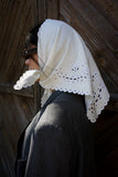 White cotton headscarf with  the openwork lace