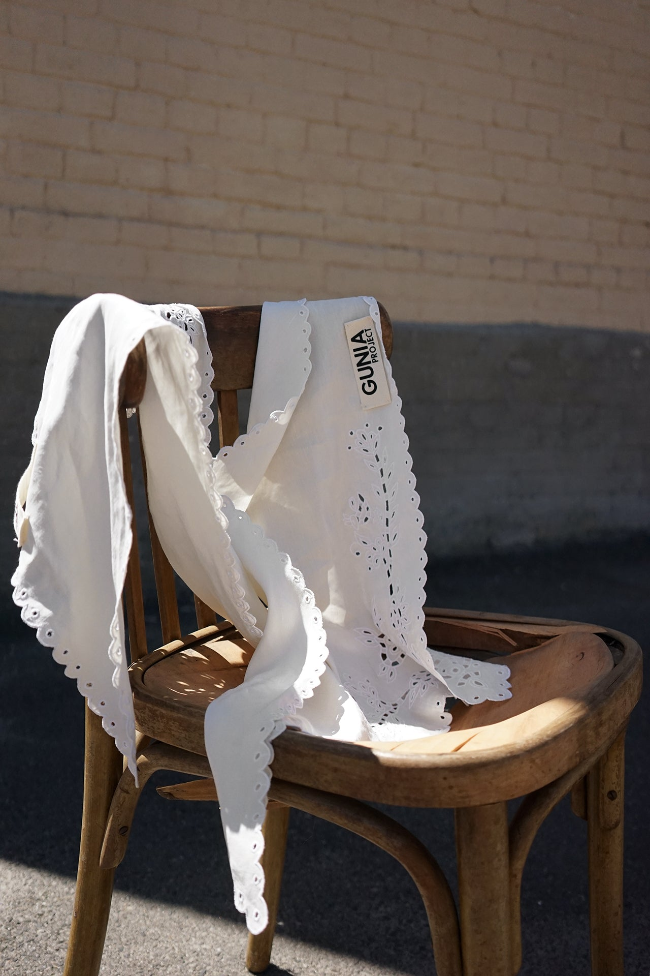 White cotton headscarfe with  the openwork lace