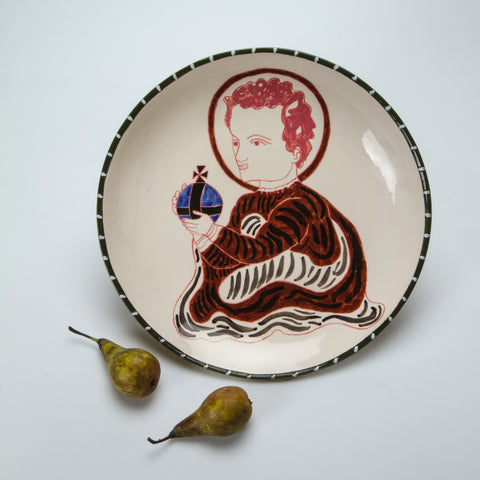 Ceramic plate with the image of baby Jesus
