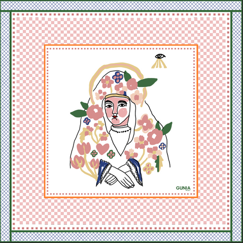 Silk headscarf with Mary, mother of Jesus