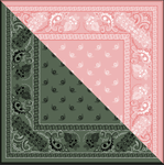 Silk khaki and pink bandana