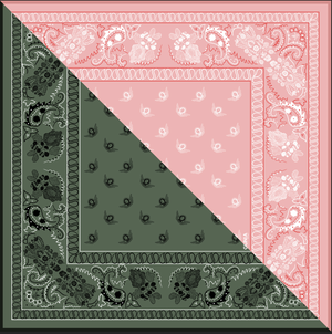 Pink and khaki Silk Scarf with ornament