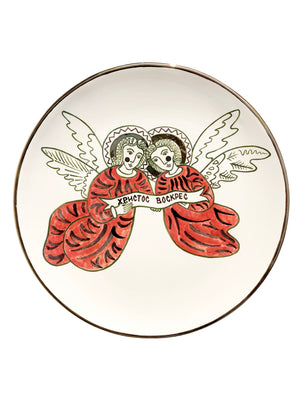 Ceramic plate with the image of the angels