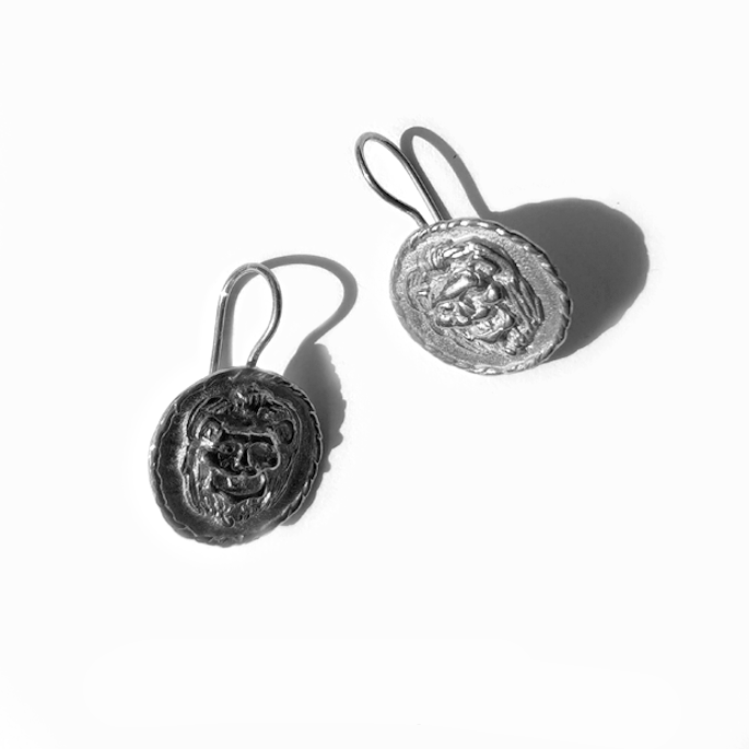 Silver Lion Earings