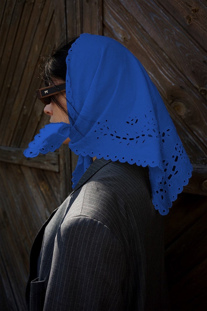 Blue cotton headscarf with  the openwork lace