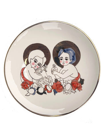 Ceramic plate with the image of baby Jesus and John the Baptist