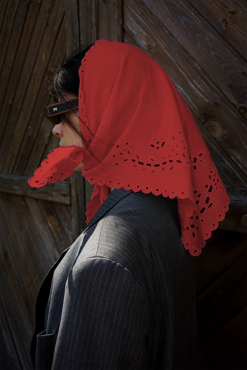 Red cotton headscarfe with  the openwork lace