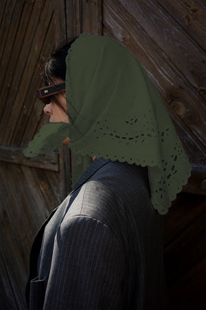 Khaki cotton headscarfe with  the openwork lace