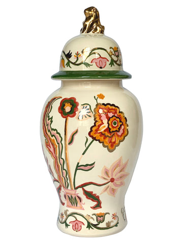 Ceramic vase with a lid and flower embroidery