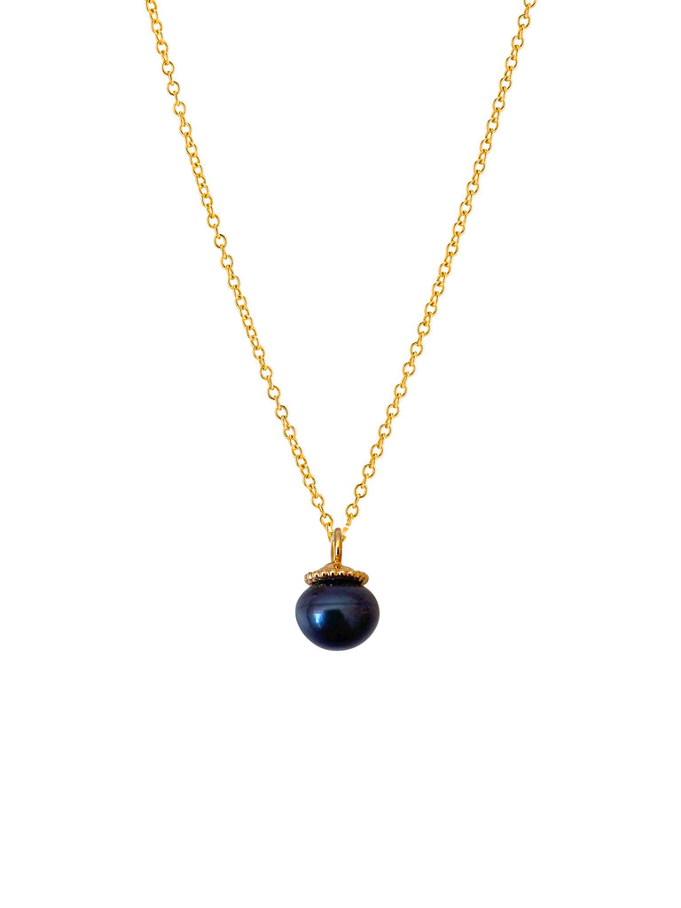 Golden black pearl pendant