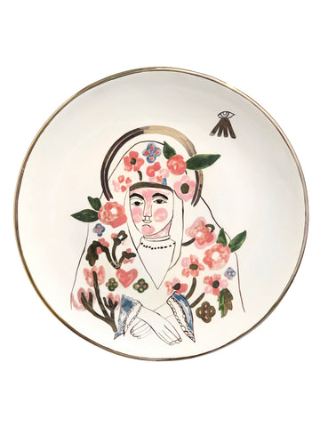 Ceramic plate with the image of Mary, mother of Jesus