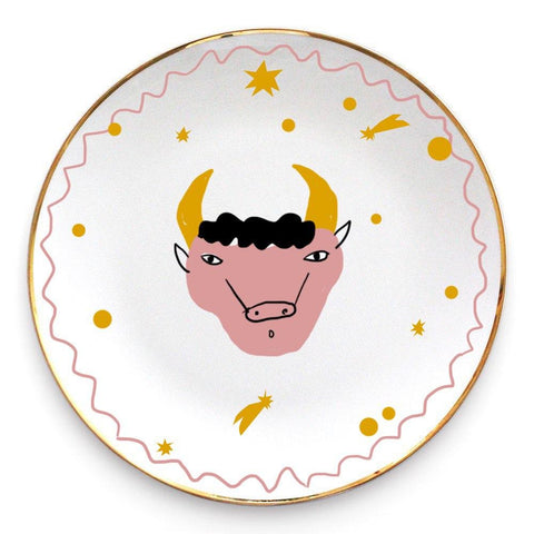 Ceramic plate with the bull