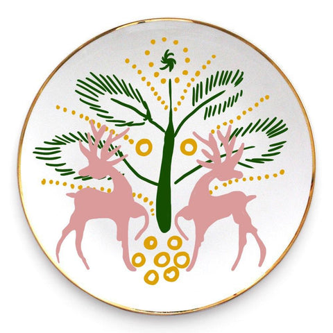 Ceramic plate with the deer
