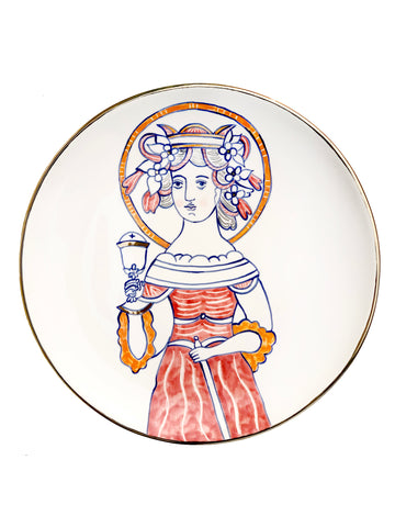 Ceramic plate with the image of Saint Barbara