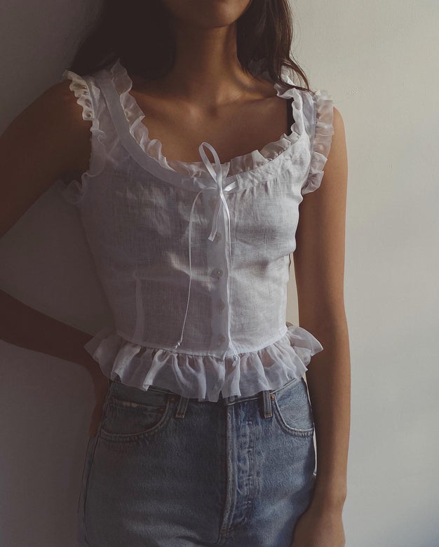 ruffle top | organza trim
