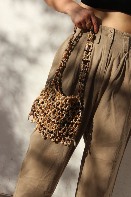 vintage seashell bag | short fringe