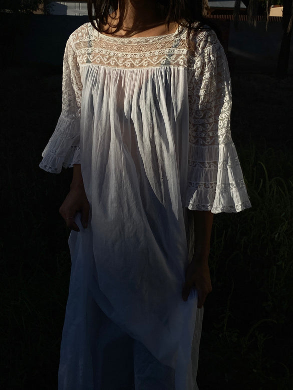 antique lace bell sleeve dress