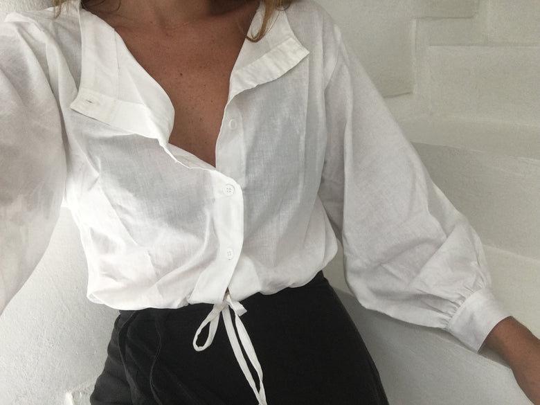 full sleeve drawstring blouse | white