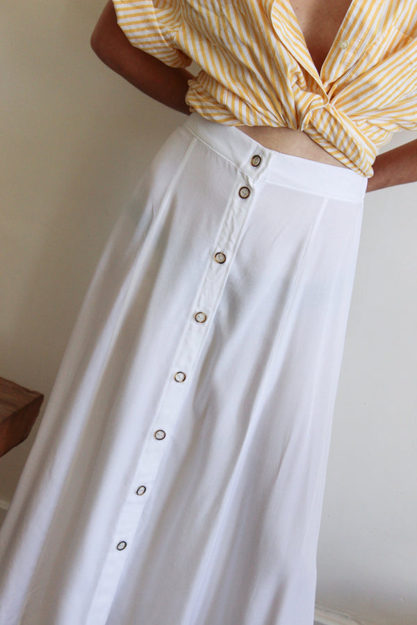 paneled button front skirt - white