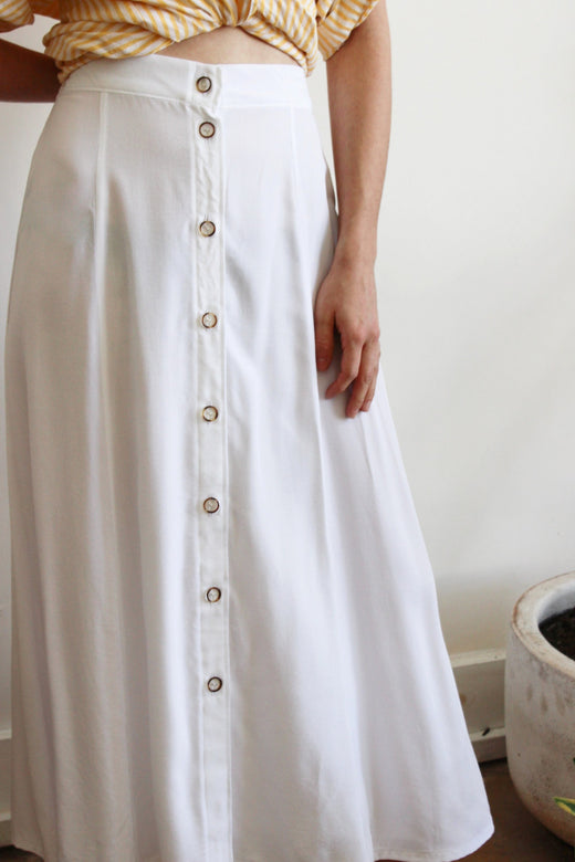 paneled button front skirt | white