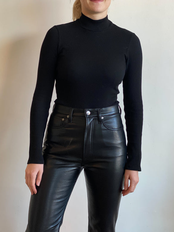 turtleneck ls bodysuit | black