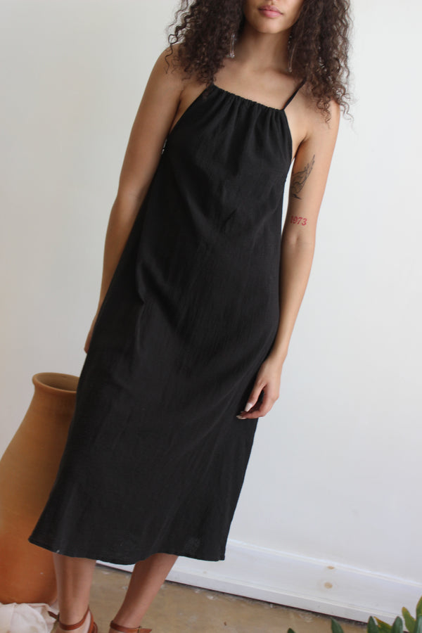 reversible tie dress | black
