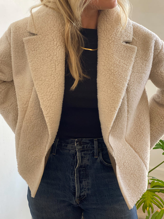 short robe coat | shearling