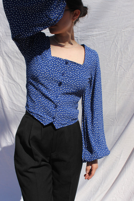 roxanne mini tulips blouse | marine blue