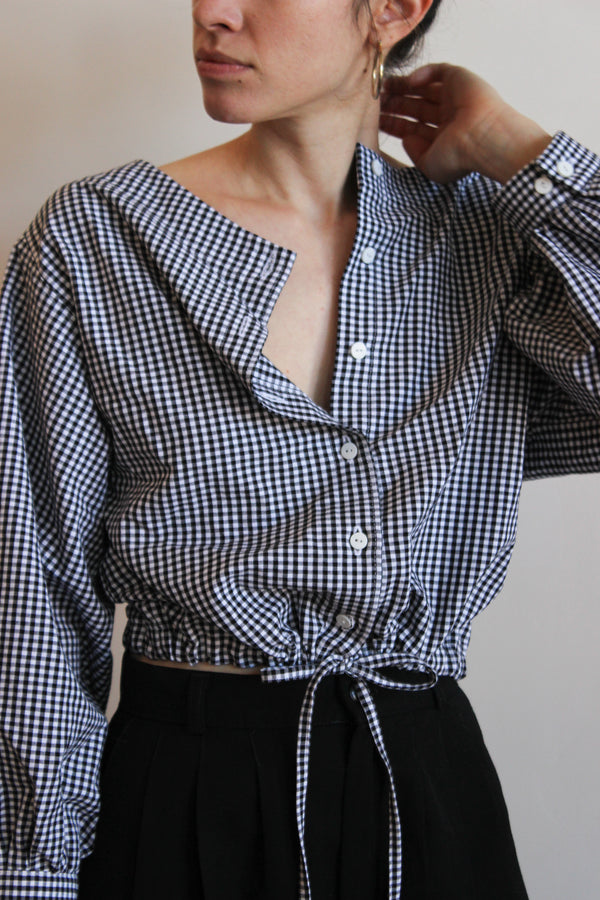 full sleeve drawstring blouse | gingham