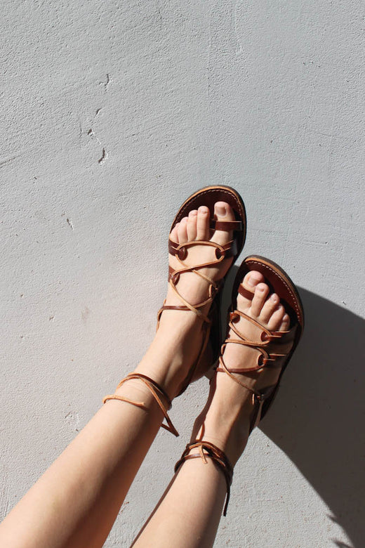 greek gladiator sandal | dark brown