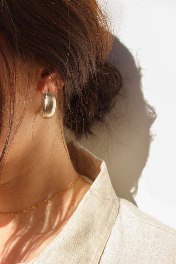 wide half hoop earrings | brass or silver