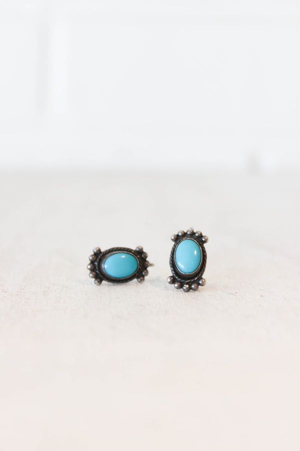 antique turquoise clip ons