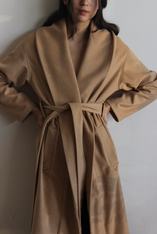 robe coat | camel & black