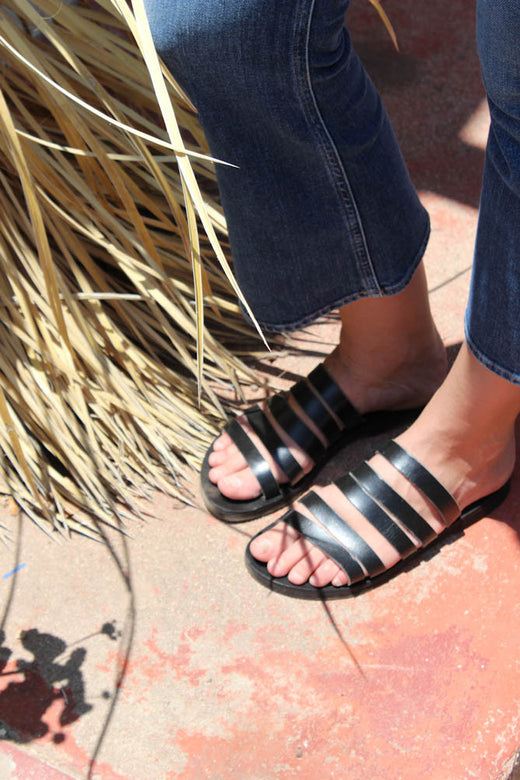 greek multi strap sandal | black
