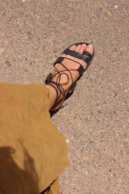 greek gladiator sandal | black