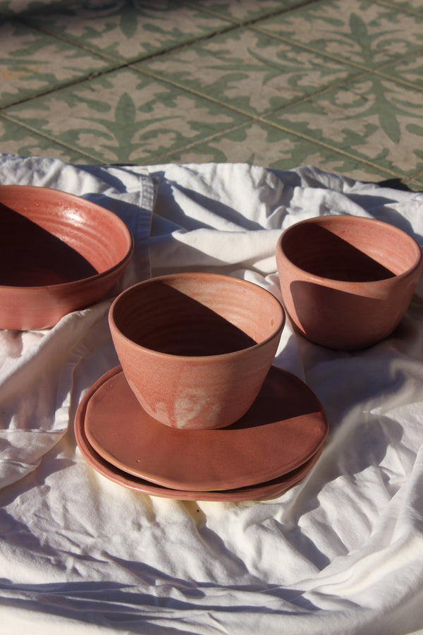 pink stoneware bowl | large